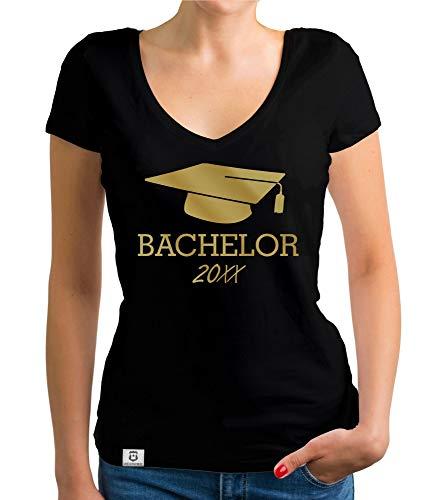 shirtdepartment - Damen T-Shirt V-Neck - Bachelor mit Wunschjahr zb 2019 schwarz-Gold M