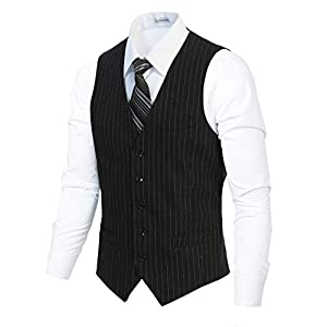 Gioberti Men's 5 Button Formal Wool Blend Tweed Pin Stripe Vest