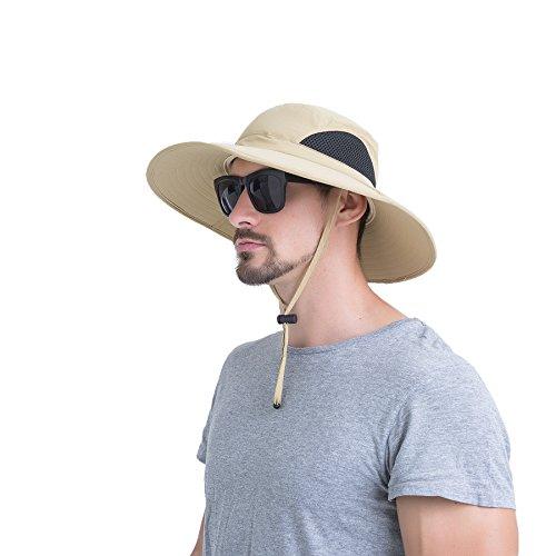 JNINTH Hut Herren Sommer Outdoor, Sonnenhut Männer UV Schutz, Fischerhut Unisex Faltbar Atmungsaktiv, Wanderhut Erwachsene Größe 60 Khaki
