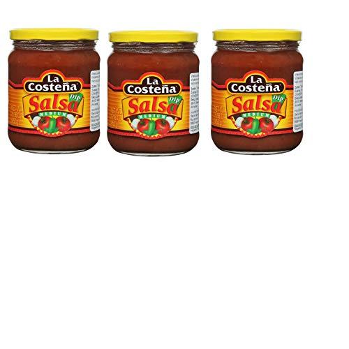 3 Gläser La Costena Salsa Dip Regular medium a 410ml Mittelscharfe Nachosauce gelber Deckel