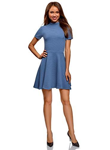oodji Ultra Damen Kleid aus Strukturiertem Stoff mit Ausgestelltem Rock, Blau, DE 40 / EU 42 / L