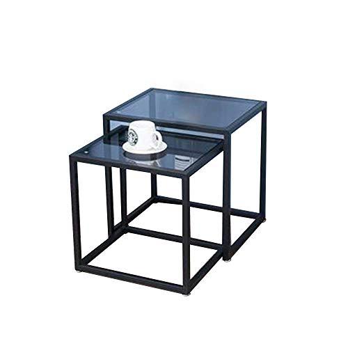Table Tables gigognes, Table d'appoint Salon en verre trempé Petite table basse Table de chevet pour la maison Table d'angle de chambre à coucher 17 & times; 14 & times; 17 pouces / 19 & times; 15 &