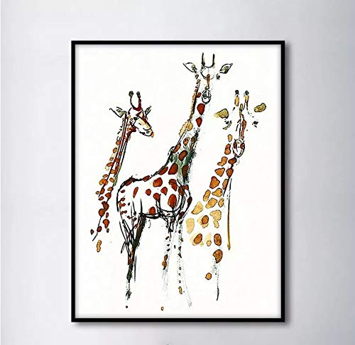 YuanMinglu Modulare Einfache Nordic DREI Giraffe Dekoration Tuch Malerei Wand Wohnzimmer Kunst Rahmenlose 30x40 cm