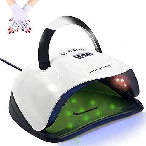 WM-MSMY Lámpara UV LED para Uñas 180W, 57 Leds Secador De Uñas con Luz De Gel De Secado Rápido Mango Portátil Lámpara De Curado con 4 Ajustes De Temporizador Sensor Automático para Espacios Grandes