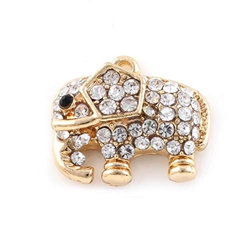 IUwnHceE Forma 2 Pcs Encanto del Diamante De La Aleación Elefante Colgante para El Teléfono Celular Fabricación De La Decoración/Collar, Oro Práctico Electrónica