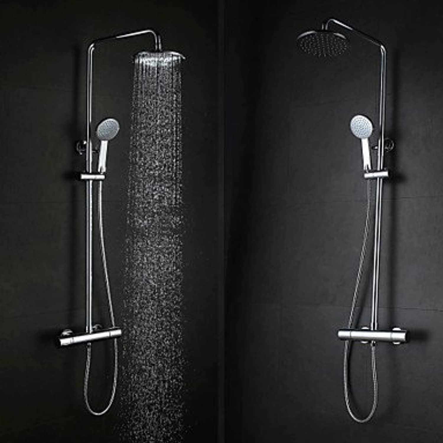 Contemporary Wall Hanging Type Brass Chrome 38 ? Smart Thermostatic Shower Faucets Set - Silver