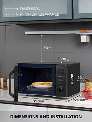 Toshiba MW2- AC25TF Forno Microonde Grill Combinato, 25 L, con Funzione Crispy, 10 Menù Facili, Vano Interno in Ceramica, Piatto Girevole, 900 W, Grill 2100 W, 51.3x51.3x31 cm, Bianco