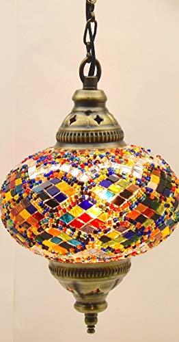 Lámpara de techo Tiffany de cristal turco marroquí, diseño de mosaico marroquí, grande (C)