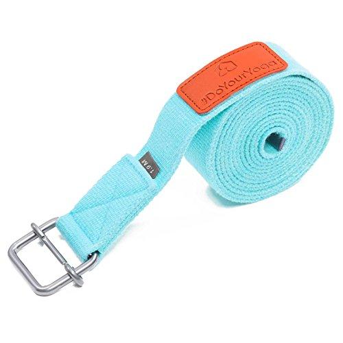 #DoYourYoga Cinturón de Yoga »Yaro« / Correas para Yoga de algodón 100% con Cierre en Forma de Anillas metálicas / 1,9m / 2,5m / 3m 3m / Turquesa