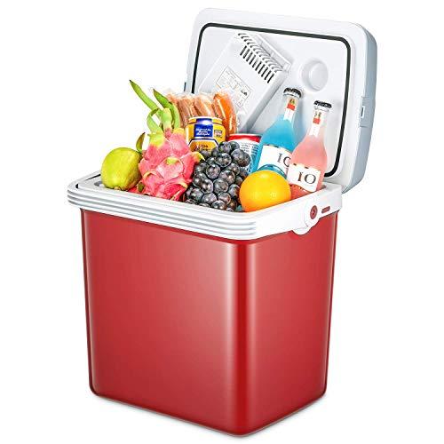 Elektrische Kühlbox (24 L) mit Kühl- und Warmhaltefunktion, Auto Kühlbox mit 2 Anschlüssen (12 Volt und 230 Volt), Mini-Kühlschrank mit Automatischer Griff, ECO-Modus