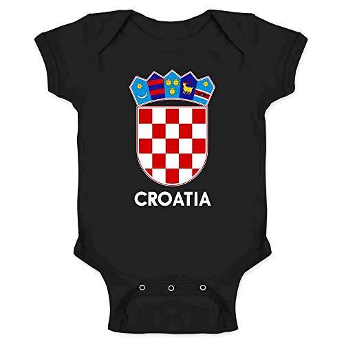 Croatia Soccer National Team Football Crest Retro Black 6M Infant Baby Boy Girl Bodysuit
