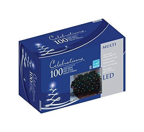 Celebrations Indoor/Outdoor LED Net Lights, 4' L x 6' W, 100 Multi-Color Lights