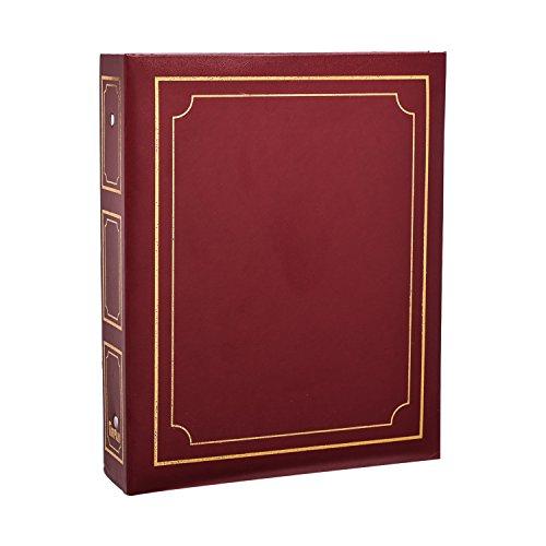 ARPAN - Álbum de Fotos Deluxe con Anillas, Hojas Autoadhesivas (40 hojas/80 Caras), tamaño Grande, Color Burdeos, 28,5 x 23 x 5,5 cm