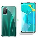 ZXLZKQ Fundas + Protector Cristal Templado para Huawei Honor 30S (6.5 Pulgadas), Transparente Case Silicona Suave Caso TPU Carcasa,Vidrio Película Protectora - Transparente