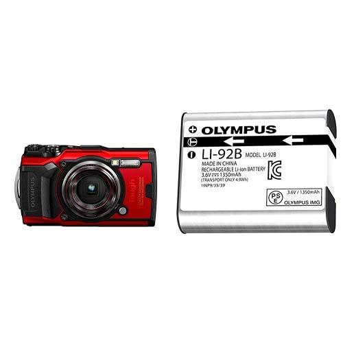 Olympus Tough TG-6 Cámara De Acción, 12 Megapíxeles, Estabilización De Imagen Digital, Vídeo 4K, 120Fps, Rojo+ Li-92B - Batería Recargable De Ión-Litio para Cámaras Tough!, Color Gris