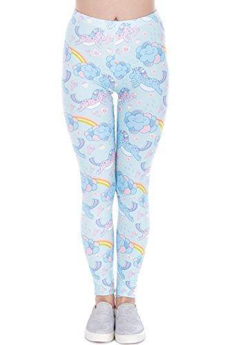 Hanessa Mujeres Leggins Azul Turquesa Impresa Leggings Pantalones Primavera Verano Ropa Unicornio S/M