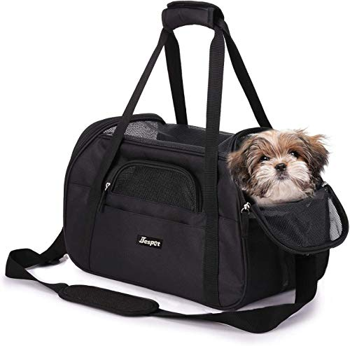 """Price comparison product image JESPET Soft Sided Pet Carrier Comfort 19"""" for Airline Travel,  Portable Dog Tote Bag for Small Animals,  Cats,  Kitten,  Puppy,  Black"""