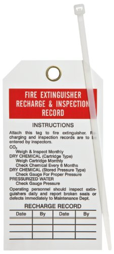 Brady 76222 5-3/4' Height, 3' Width, B-851 Economy Polyester, Red And Black On White Color Fire Extinguisher Tags (Pack Of 25)