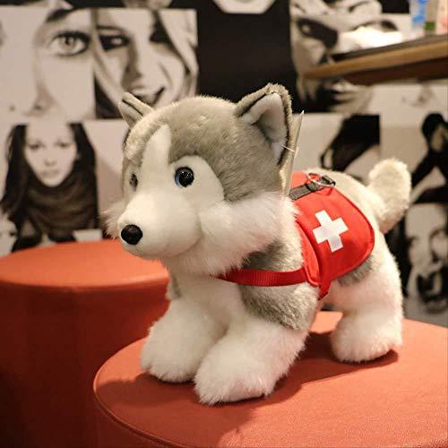 INGFBDS Plüschtiere simuliert Tier Alaska Hund Huskies Job Jagd und Rettungshund Puppe Plüsch Puppe Puppe 48cm