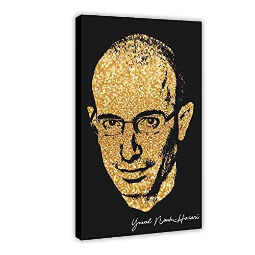 Yuval Noah Harari Golden Celebrity Signature Poster 64 poster in tela per camera da letto, sport, paesaggio, ufficio, decorazione della stanza da regalo, 60 x 90 cm