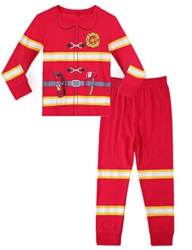 MOMBEBE COSLAND Pijamas Halloween Niños Conjuntos Pjs Bombero Manga Larga para Niños Ropa Dormir Algodón para Niños Trajes 7-8 Años Rojo