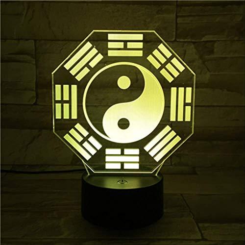 Tai Chi Ocho Diagramas Tema Luces 3D Luces nocturnas LED 7 Luces táctiles de cambio de color Enviar amigos Regalos de Navidad