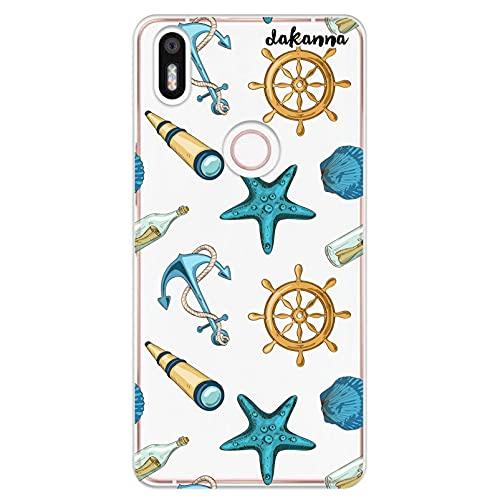 dakanna Funda Compatible con [ Bq Aquaris X5 Plus ] de Silicona Flexible, Dibujo Diseño [ Estampado de Figuras náuticas ], Color [Fondo Transparente] Carcasa Case Cover de Gel TPU para Smartphone