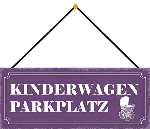 FS Kinderwagen-PARKTPLATZ (lila Schild mit Kinderwagen) Blechschild Schild gewölbt Metal Sign 10 x 27 cm mit Kordel