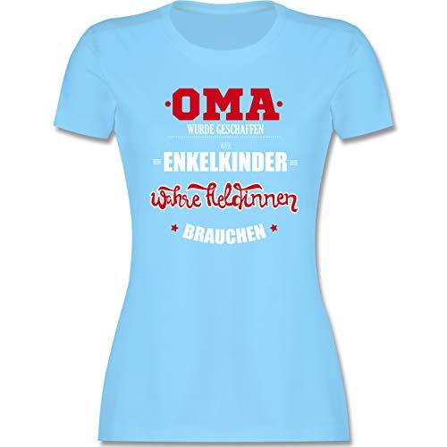 Oma - Oma wurde geschaffen - XXL - Hellblau - t-Shirt mit sprüchen oma - L191 - Tailliertes Tshirt für Damen und Frauen T-Shirt