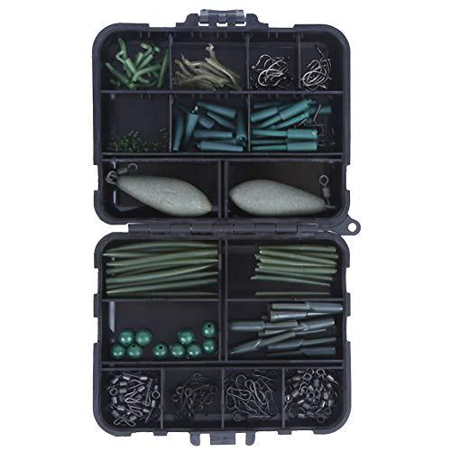 Duokon Accesorios de Pesca Keenso, Conjunto de Accesorios de Pesca de Carpa portátil Caja de Almacenamiento Kit de Aparejos de Pesca multifunción(Negro)