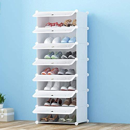 ZXL Meubel schoenenrek, schoenendoos, kunststof DIY stapelbare schoen opbergdoos solide en duurzaam heldere afdekking - eenvoudig op te bergen de schoenen wit (maat: 4 dieren)