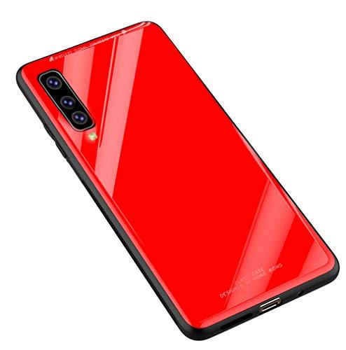 Kepuch Quartz Case Capas TPU &Voltar (Vidro Temperado) para Samsung Galaxy A7 2018 A750 - Vermelho