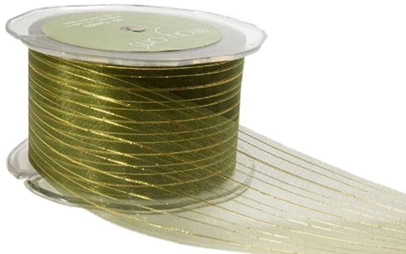 May Arts 2-Inch Wide Ribbon, Moss Green Sheer with Gold Stripes