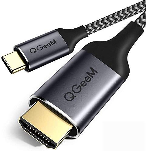 USB C a Cable HDMI, QGeeM Trenzado 4 K @ 60Hz USB Tipo C a HDMI 6ft / 1.8M Cable (Compatible con Thunderbolt 3) para MacBook, MacBook Pro, iMac, Chromebook Pixel, Galaxy Note 8 / S8 Plus / S8