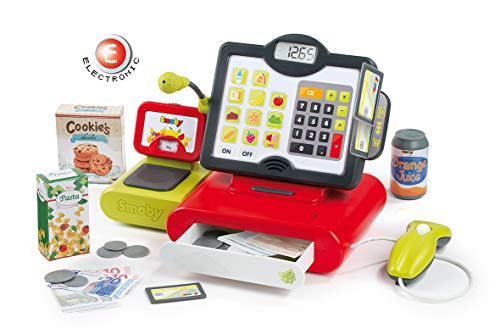 Smoby 350103WEB Elektronische Supermarktkasse, mechanische Spielkasse für Kaufläden für Kinder ab 3 Jahren, rot
