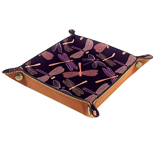 Bandeja de Juegos de Dados rodantes Plegable Bandejas de joyería cuadradas de Cuero y Reloj, Llave, Moneda, Caja de Almacenamiento de Dulces Patrón de libélula Rosa púrpura