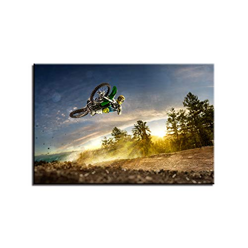 MMLZLZ Decorative Paintings Canvas Pictures High Definition Wall Art Prints Poster 1 Pieces Motocross Paintings Sports Motorcycle Racing Decorative Picture Home Decor (20x28inch)