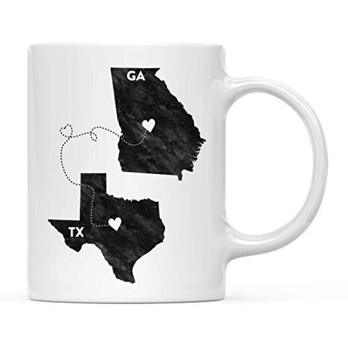 N\A Taza de café, Regalo de Larga Distancia, Texas y Georgia, Blanco y Negro Moderno, Paquete de 1, Regalo para graduación universitaria de mudanza para él, Sus relaciones