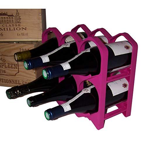 Casier Bouteille Range Bouteilles empilable et déco couleur Bordeaux Fushia