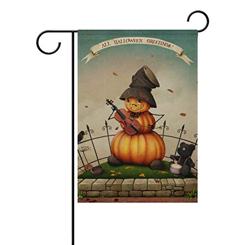 Sweetmen Halloween Double Sided Polyester Garden Flag 28 x 40 Inches, Musical Pumpkin Decorative Large House Flag for Party Yard Home Decor