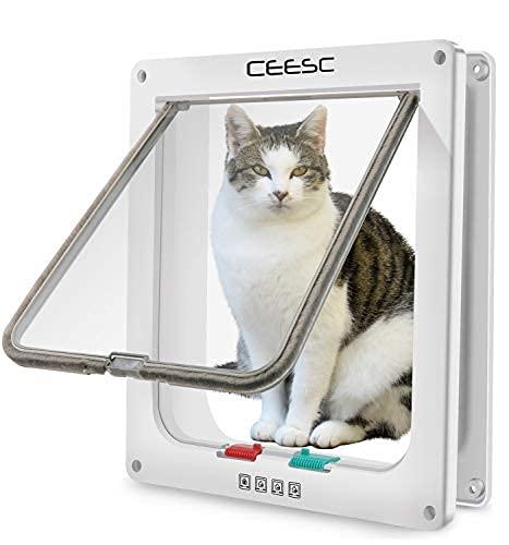 CEESC Grande chatière (Taille extérieure 28cm x 24.9cm), Verrouillage à 4 Voies Chatière pour Chats et Petits Chiens de circonférence