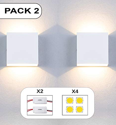 Apliques Pared led Set 2 uds con repuestos de Driver y Leds Forma Cuadrada 6W Aplique Pared Interior Salon Dormitorio pasillos Negocios lampara Pared Color Blanco luz Calida