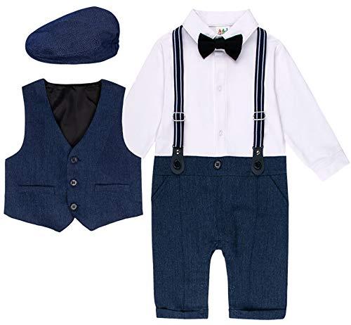 mintgreen 3 pcs bébé garçon Vêtements Définit Bodys et Combinaisons Barboteuse + Gilet + Chapeau Costume, Bleu Foncé, 6-9 Mois (Taille Fabricant: 70)