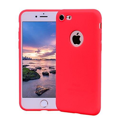 Funda iPhone 7, Carcasa iPhone 7 Silicona Gel, OUJD Mate Case Ultra Delgado TPU Goma Flexible Cover para iPhone 7 - Rojo
