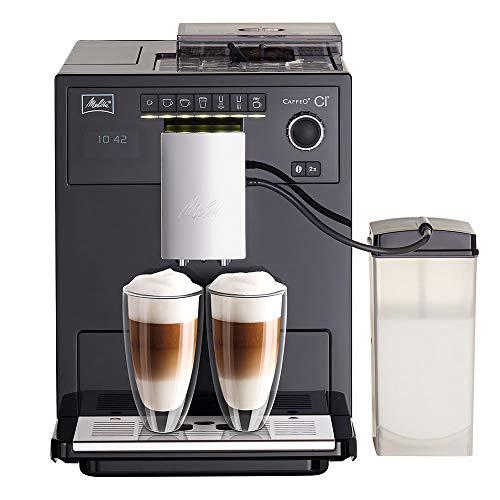 Melitta Caffeo CI E970-103, Kaffeevollautomat mit Milchbehälter, Zweikammern-Bohnenbehälter, One Touch Funktion, Schwarz