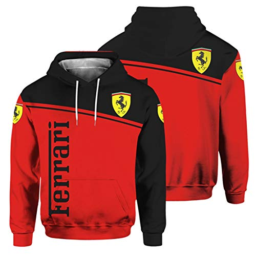 Sudadera con Capucha para Hombre De Manga Larga con Estampado Digital del Logotipo De Ferrari (3,3XL)
