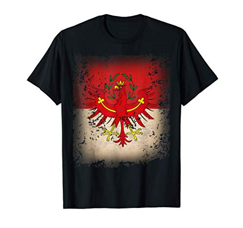 Tirol Fahne Flagge mit Tiroler Adler Retro Herren Damen T-Shirt
