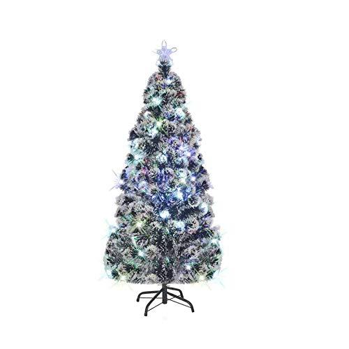 Albero di Natale Artificiale, Albero di Natale Slim da 180 cm in Fibra di vetro+acciaio con 220 rami flessibili con LED in 7 colori Verde 230-240 V~ per essere utilizzato all'esterno ed''interno