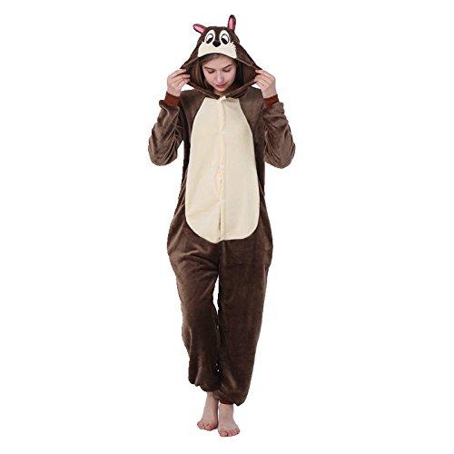 Animal Bee Koala Raccoon Caballo Vaca Canguro Serpiente Lemur Ardilla Murcilago Mono Disfraz Pijama Ropa de Dormir Carnaval Disfraz Ardilla/Ardilla, M (altura 160 cm-170 cm)