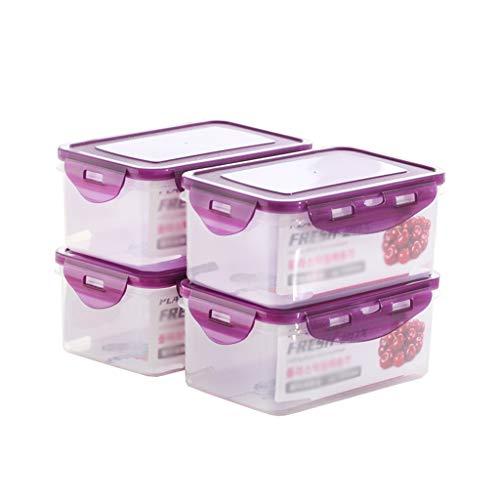 Box Aufbewahrungsbox FüR KüChe VorratsbehäLter FüR Lebensmittel4 SäTze - Das Design Der Dichtung - Hochtransparentes Nahrungsmittel Mit Hoher KapazitäT - Kann In Der Mikrowelle Erhitzt Werden +